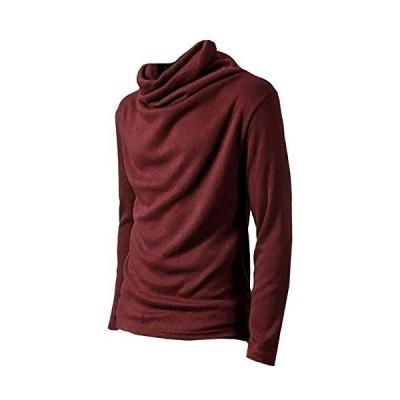 ONE LIMITATION(ワン リミテーション) タートルネック 長袖 ハイネック Tシャツ カットソー ロンT メンズ TN001 (レッドM)