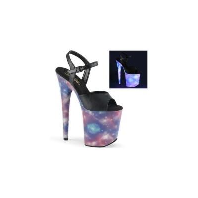 レディース シューズ ハイヒール プリーザー pleaser FLAMINGO-809REFL Blk Faux Leather/Purple-Blue Reflective  お取り寄せ商品