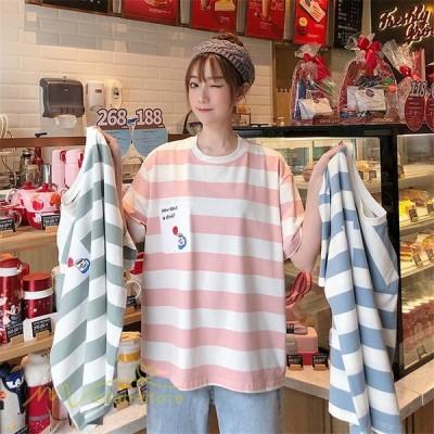 レディースカットソーtシャツTシャツミディアム丈夏新作丸首ストライププリント可愛い半袖着回しワイドトップスゆったり