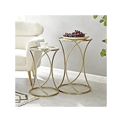 特別価格FirsTime & Co. Gold Sanibel Curved Nesting Table 2-Piece Set, Metal, 15.75 好評販売中