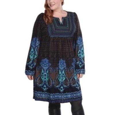 ホワイトマーク レディース ワンピース トップス Women's Plus Size Phebe Embroidered Sweater Dress Blue