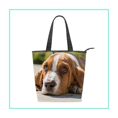 【新品】Women Basset Hound Shoulder Bags Casual Vintage Canvas Handbags Top Handle Tote Shopping Bags(並行輸入品)