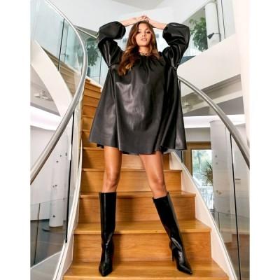 エイソス ミニドレス レディース ASOS DESIGN leather look swing mini dress in black エイソス ASOS ブラック 黒