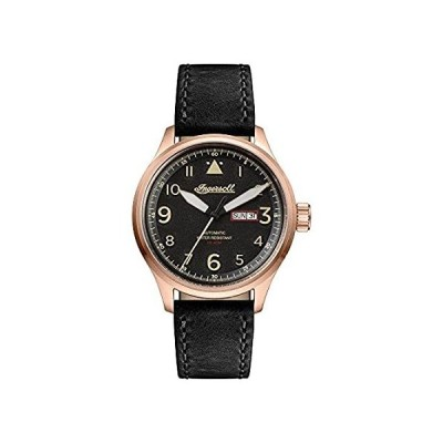 Ingersoll Men 's AutomaticステンレススチールandレザーCasual Watch, Color : Black (Model