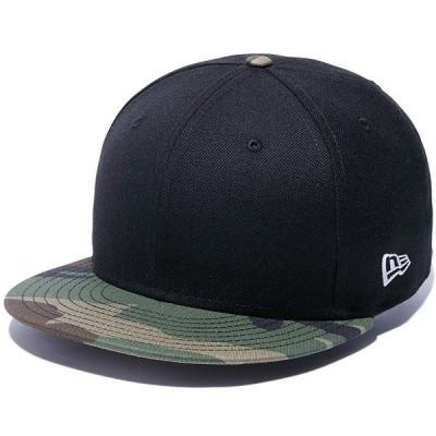 ニューエラ 帽子 キャップ NEW ERA 9FIFTY ベーシック ブラック×ウッドランドカモバイザー ホワイトフラッグ