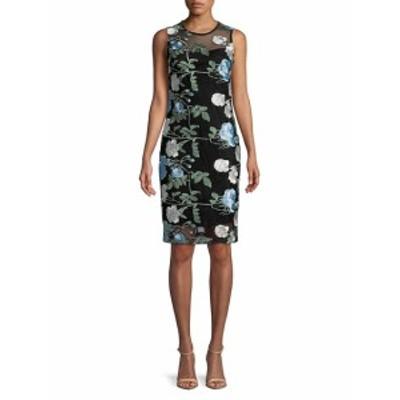 カルバンクライン レディース ワンピース Knee-Length Floral Embroidered Dress