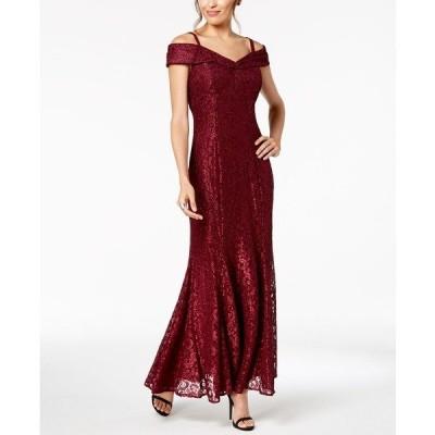 アールアンドエムリチャーズ ワンピース トップス レディース Off-The-Shoulder Petite Lace Gown Merlot