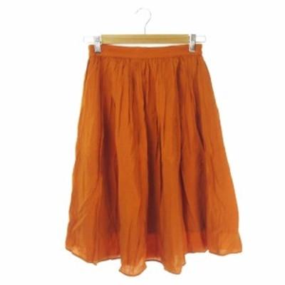 【中古】ディスコート Discoat スカート ギャザー フレア ロング ミモレ M オレンジ /KI19 ☆ レディース