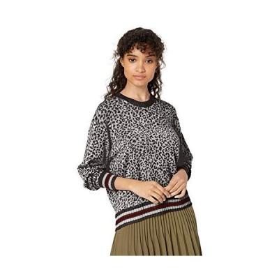 Splendid Women's Cashmere Blend Pullover Sweater, Heather Grey Black Leopar