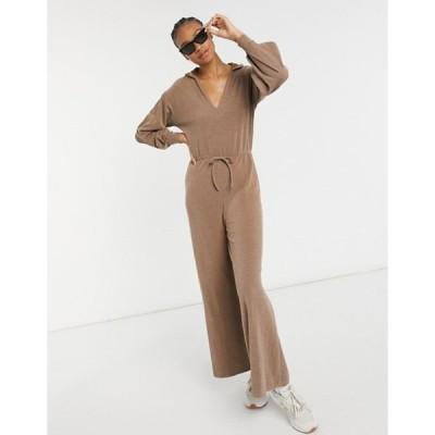 エイソス レディース ワンピース トップス ASOS DESIGN rib hoodie jumpsuit in chocolate brown