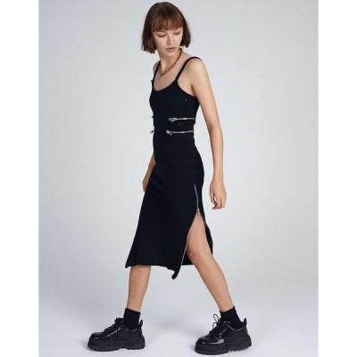 ラギドプリースト ミディドレス レディース The Ragged Priest midi cami dress with zip cut outs in rib エイソス ASOS ブラック 黒