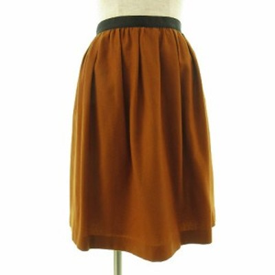 【中古】ノーリーズ Nolley's スカート ひざ丈 フレアー ブラウン 茶 34 レディース