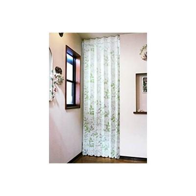 遮熱断熱 間口を仕切って冷暖房効率アップ ロングアコーディオンカーテンのれん「リーフ」 幅105×丈250cm (グリーンリーフ)
