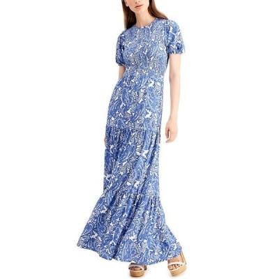 マイケルコース ワンピース トップス レディース Paisley Smocked Midi Dress, Regular & Petite Blue