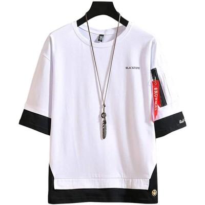 [エレガンザー]メンズ tシャツ 七分袖 無地 カットソー ビッグシルエット ドロップショルダ 切り替え 重ね風 大きいサイズ クルーネック ストリー
