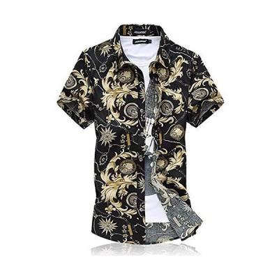 メンズシャツ 半袖 夏 大きいサイズ ゆったり オラオラ ビーチ 綿 スリム カジュアルシャツ 柔軟 軽量 通気性 アウター プリント 柄 ブラック