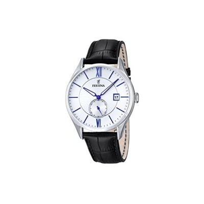 Festina Men's Quartz Watch with White Dial Analogue Display and Black Leather Strap F16872/1 並行輸入品