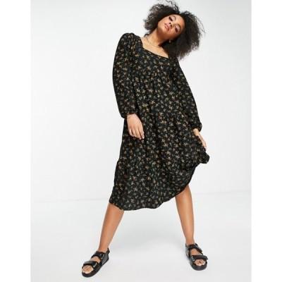 エイソス レディース ワンピース トップス ASOS DESIGN long sleeve square neck tiered midi dress in black and yellow floral
