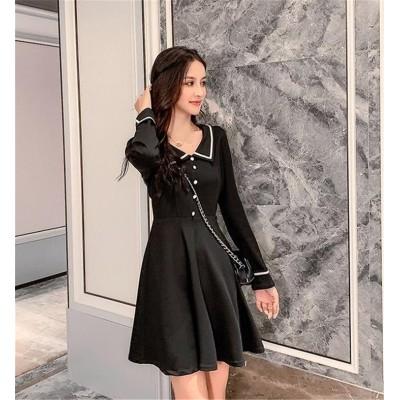 女性らしさ満点の魅力スタイルを!韓国ファッション CHIC気質 おしゃれな 大人気 トレンド スリム ラペル 長袖  Aライン ワンビース