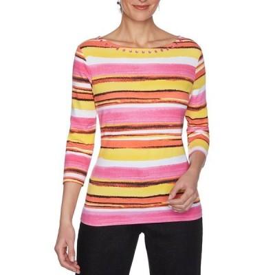 ルビーロード レディース Tシャツ トップス Petite Size Vibrant Stripe Embellished Boat Neck 3/4 Sleeve Knit Top Hot Pink Multi