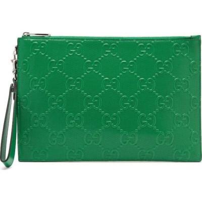 グッチ Gucci メンズ ポーチ GG-monogram perforated-leather pouch Green