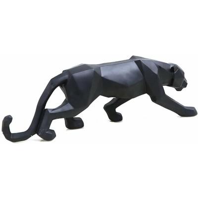 幾何学モダンなブラックパンサー(黒豹 ヒョウ)彫刻 彫像 装飾置物(ブラック)/ ファッション店舗 貴賓室 VIPルーム プレゼント(輸入品