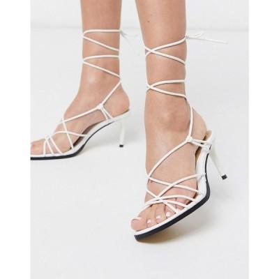 ミスガイデッド Missguided レディース サンダル・ミュール シューズ・靴 tie leg mid heel sandal in white ホワイト