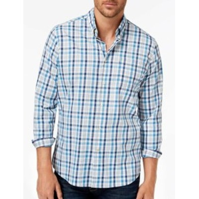 Barbour バブアー? ファッション アウター Barbour NEW Blue Mens Size Large L Button Down Plaid Dress Shirt