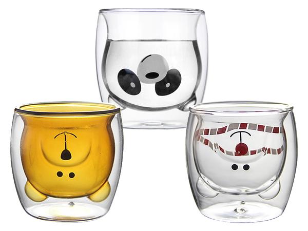 小熊造型雙層耐熱玻璃杯200ml(1入) 款式可選【D022233】