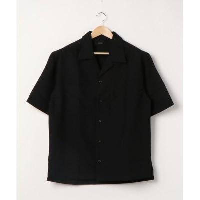 シャツ ブラウス 【Bl】オープンカラーワイド5分袖シャツ