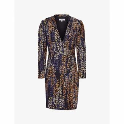 リース REISS レディース ワンピース ワンピース・ドレス Esmerelda graphic-print crepe dress NAVY PRINT