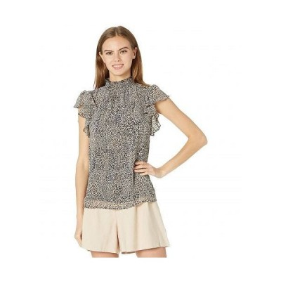 1.STATE ワンステート レディース 女性用 ファッション ブラウス Flutter Sleeve Smocked Neck Blouse - Light Leopard Muse