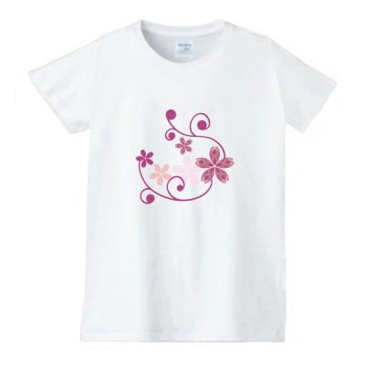 花 フラワー Tシャツ 白 レディース 女性用 jfw38