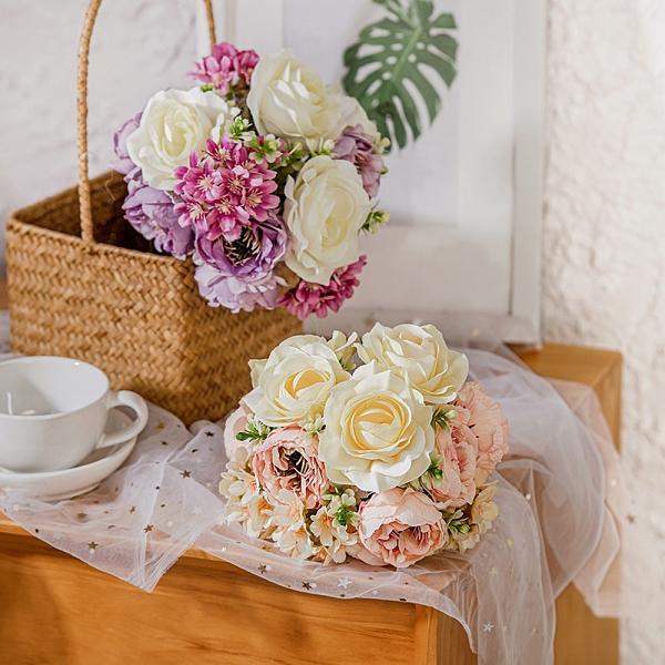【BlueCat】仿真花 洋桔梗 織雪捧花 插花材料 拍照道具 拍攝道具 插花 花藝 花材 花牆