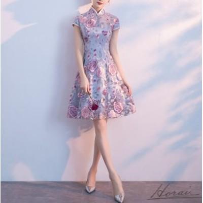 韓国 パーティドレス 結婚式 お呼ばれドレス 20代 30代 大きいサイズ パーティドレス 演奏会 ワンピース 花柄レース 選べる丈 シースルー