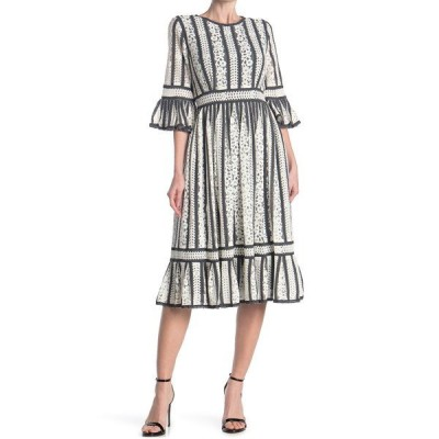 マックスタジオ レディース ワンピース トップス Long Sleeve Lace Dress WHTBK120