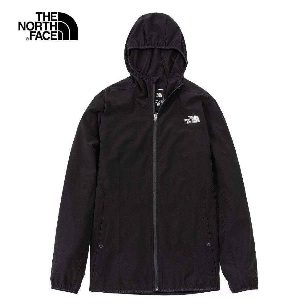 The North Face北面男款黑色防潑水防曬連帽外套|5B3YJK3