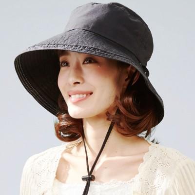 ベルーナ おしゃれなUVカット紐付き帽子 ブラック 1 レディース