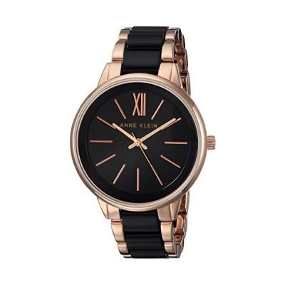 Anne Kleinローズゴールドトーンとブラックプラスチック腕時計 One Size Black/Rose Gold