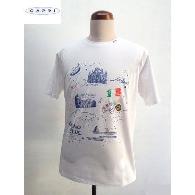 CAPRI(カプリ) プリント柄 半袖 Tシャツ ホワイト(白)