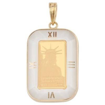 純金 K24 インゴット 1g リバティ ペンダントトップ メンズ レディース 自由の女神 時計 デザイン枠 アトラス ホワイト 金貨 コイン ヘッド チャーム ゴールド