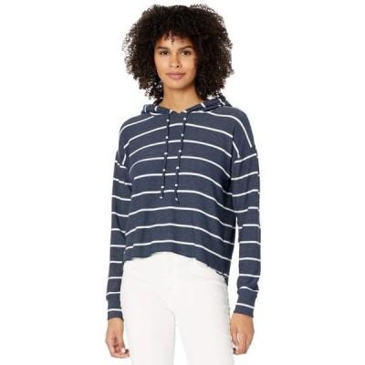 チェイサー レディース パーカー Beach Stripes Cozy Knit High-Low Cropped Hoodie
