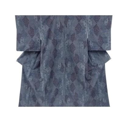 リサイクル 麻の葉に楓・花模様織り出し手織り紬着物