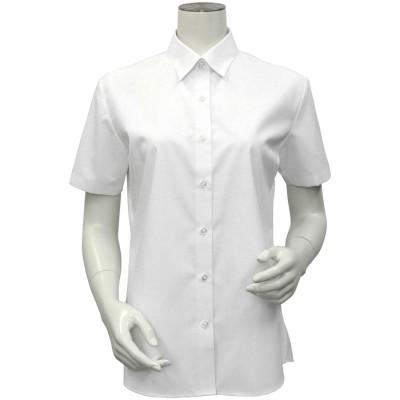 トーキョーシャツ TOKYO SHIRTS 形態安定ノーアイロン レギュラー衿 白無地ベーシック 半袖ビジネスワイシャツ (ホワイト)