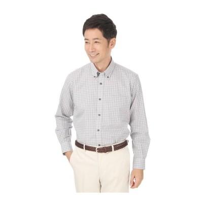 オールシーズン用 グレー系 【長袖】【ボタンダウン】カジュアルシャツ YUKI TORII HOMME
