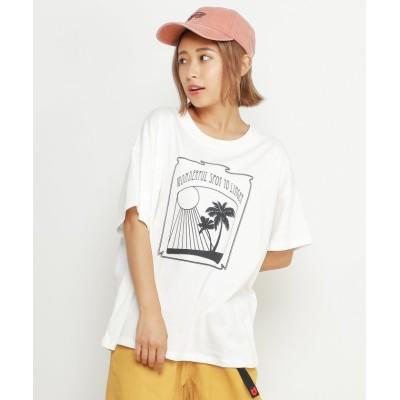 【ダブルネーム】 ゆるアロハTシャツ レディース オフ白 FREE DOUBLE NAME