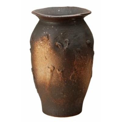 信楽焼 陶器 和風 モダン 壺 茶 ブラウザ 窯変ボカシ壺型傘立て 49.0cm