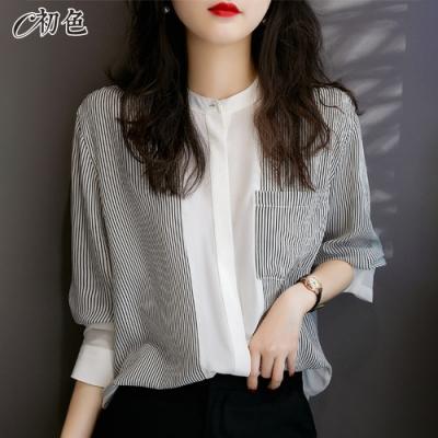 初色  拼接條紋立領襯衫-條紋-(M-2XL可選)