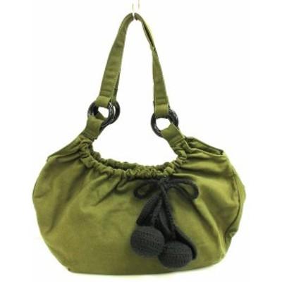 【中古】SONIA SONIA RYKIEL キャンバス ショルダー バッグ カーキ 手提げ チェリー ニット グリーン系 トート 鞄