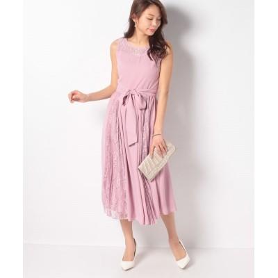 (axes femme/アクシーズファム)サイドプリーツロングドレス/レディース 淡ピンク